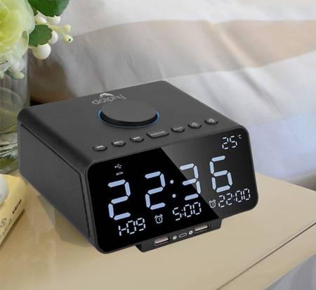 Dual Alarm Clock, FM Radio, LED Display, Wireless Bluetooth Player