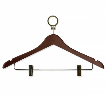 Wooden Anti Theft Cloth Hanger with Polished Clips and Hooks