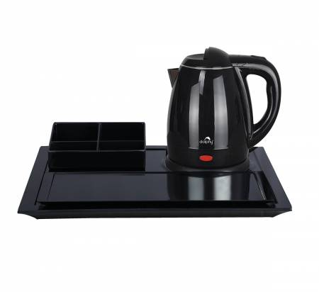 1350 W Premium Black Kettle Tray Set
